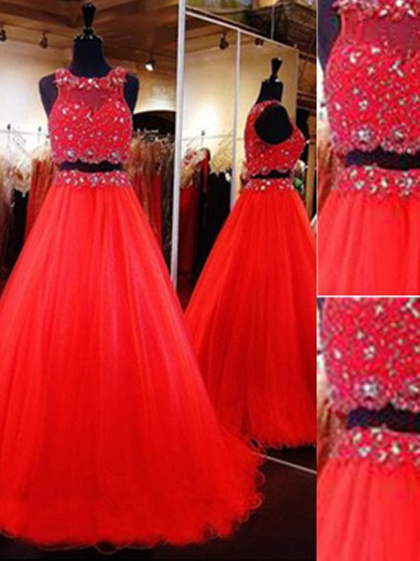 Red Tulle Scoop A-Line/Princess Floor-Length Prom Dresses