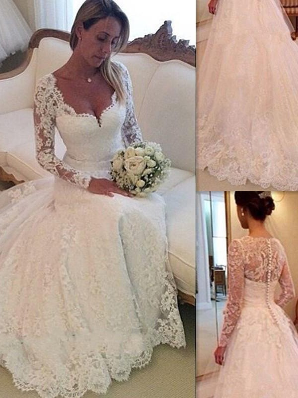 White Tulle V-neck Ball Gown Court Train Wedding Dresses