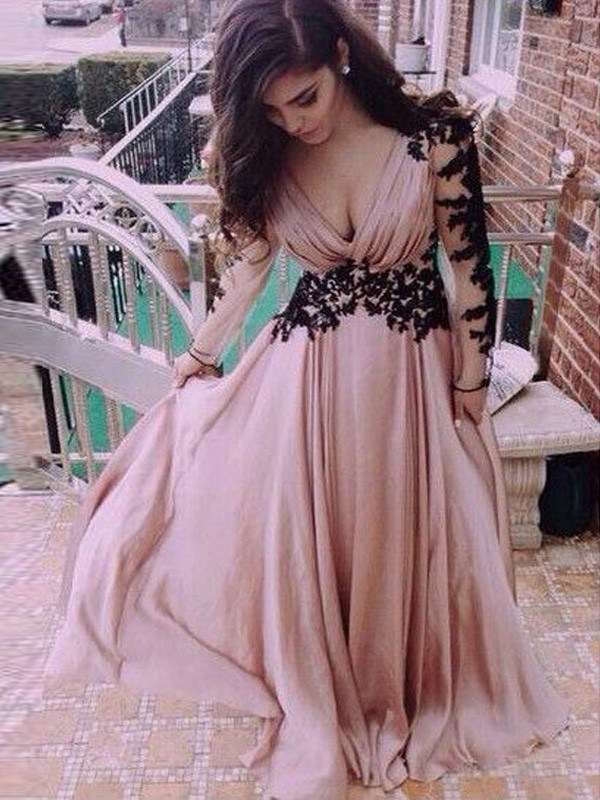Pink Chiffon V-neck A-Line/Princess Floor-Length Prom Dresses
