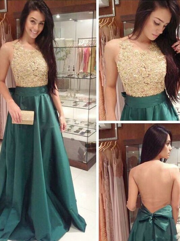 Green Satin Scoop A-Line/Princess Floor-Length Prom Dresses