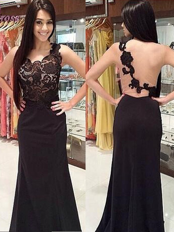 Black Chiffon Scoop Sheath/Column Floor-Length Prom Dresses
