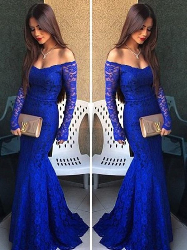 Royal Blue Lace Off-the-Shoulder Trumpet/Mermaid Sweep/Brush Train Prom Dresses