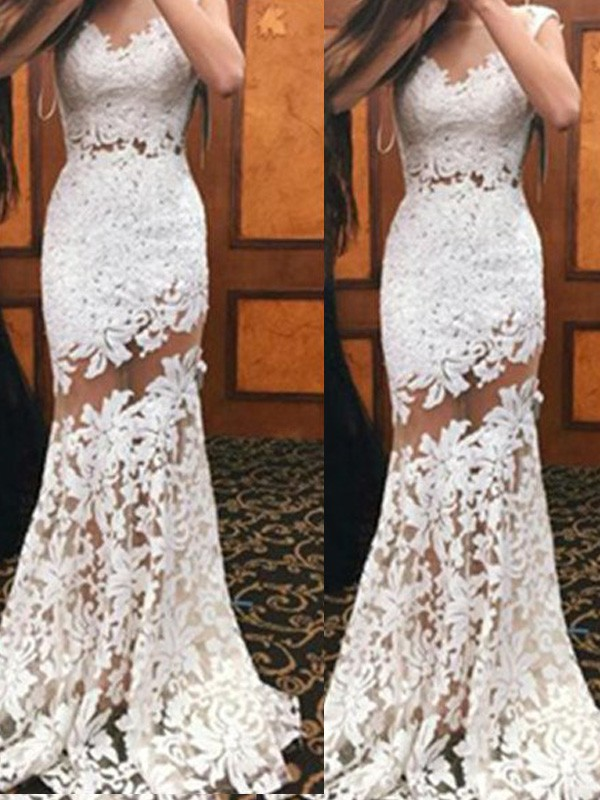 White Lace Scoop Trumpet/Mermaid Sweep/Brush Train Prom Dresses