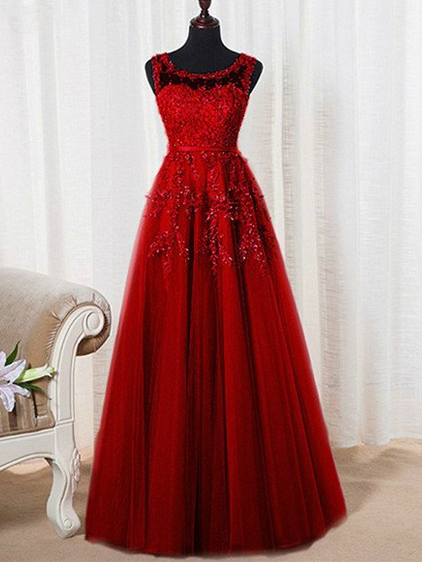 Tulle Scoop A-Line/Princess Floor-Length Prom Dresses