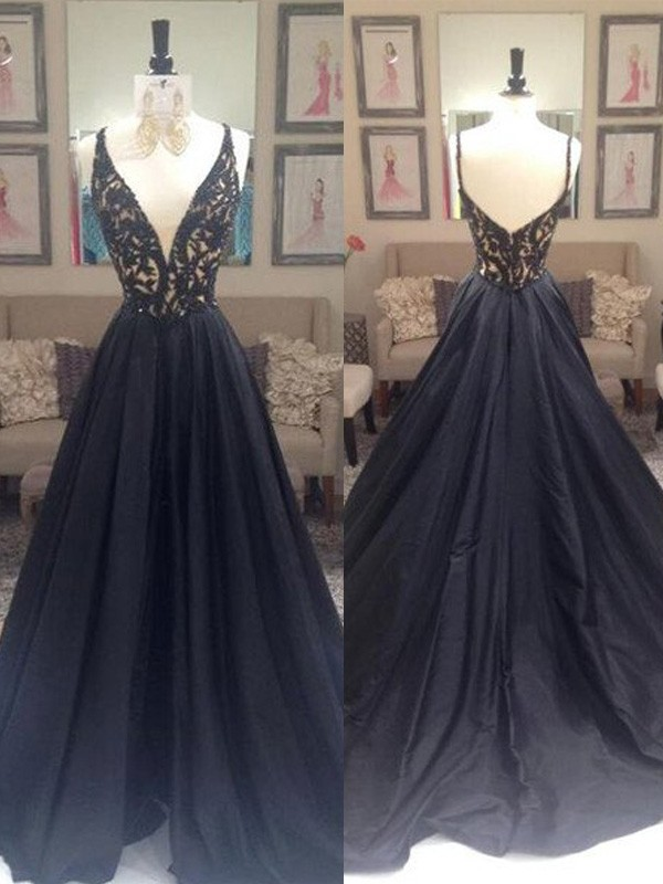 Black Taffeta V-neck A-Line/Princess Sweep/Brush Train Prom Dresses