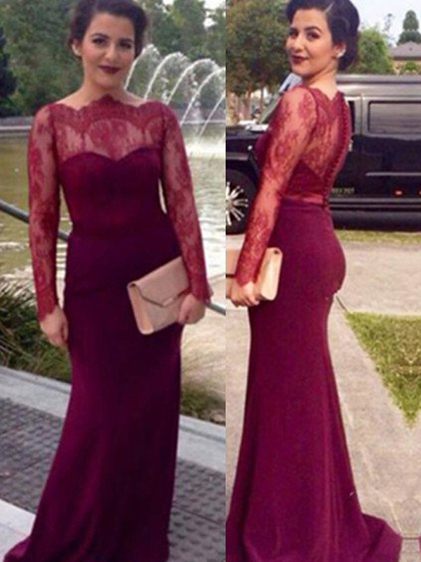 Burgundy Chiffon Scoop Sheath/Column Floor-Length Prom Dresses