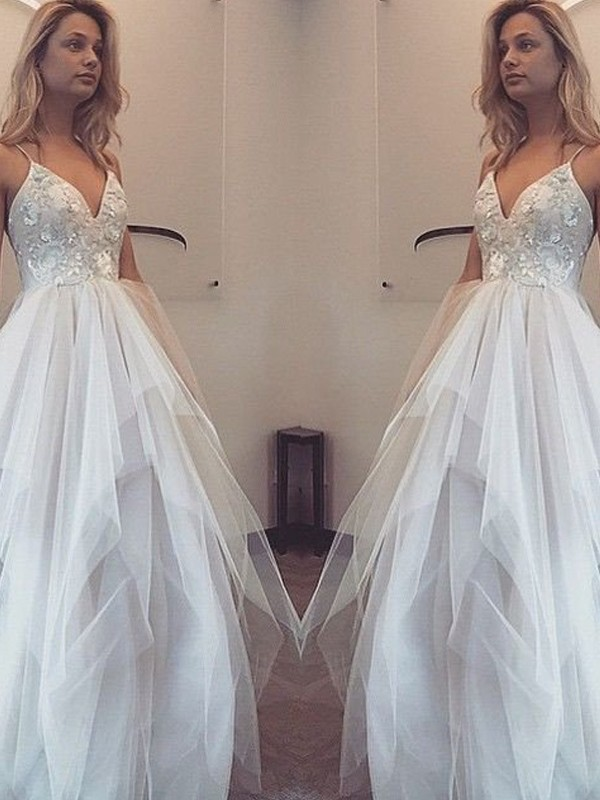 White Tulle Spaghetti Straps A-Line/Princess Floor-Length Prom Dresses