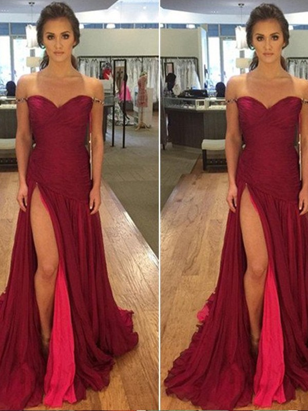 Burgundy Chiffon Off-the-Shoulder A-Line/Princess Sweep/Brush Train Prom Dresses