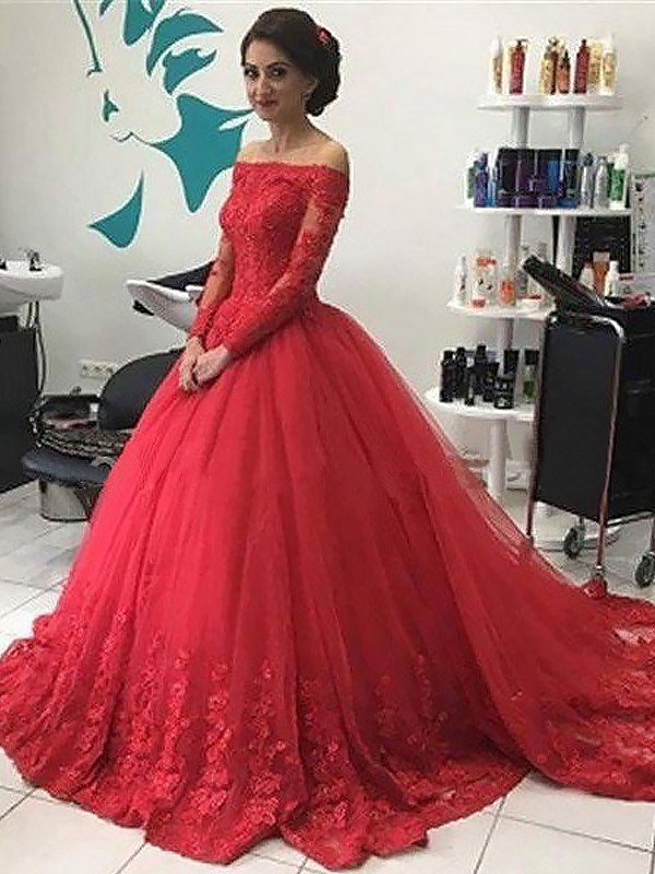 Red Tulle Off-the-Shoulder Ball Gown Court Train Prom Dresses