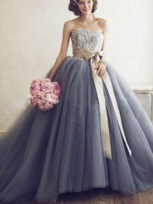 Silver Tulle Sweetheart Ball Gown Sweep/Brush Train Prom Dresses
