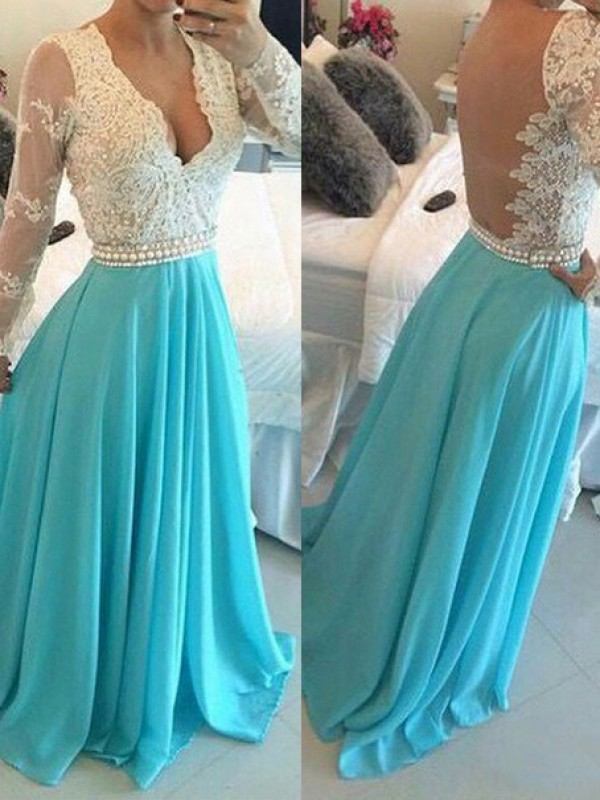 Blue Chiffon V-neck A-Line/Princess Sweep/Brush Train Dresses
