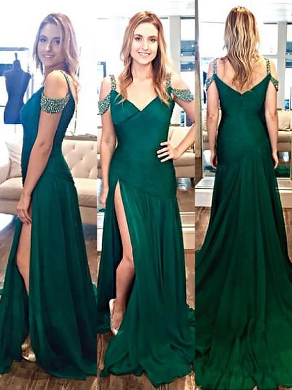Dark Green Chiffon Halter A-Line/Princess Sweep/Brush Train Dresses