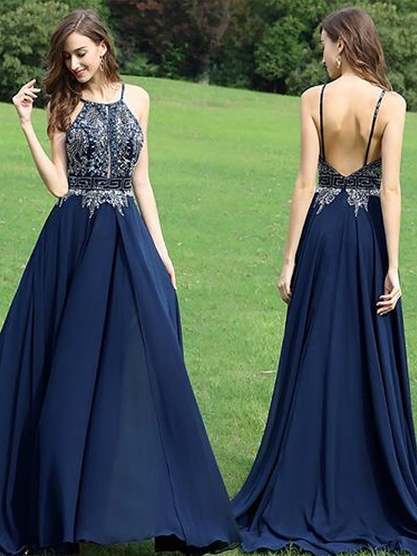 Dark Navy Chiffon Halter A-Line/Princess Floor-Length Dresses