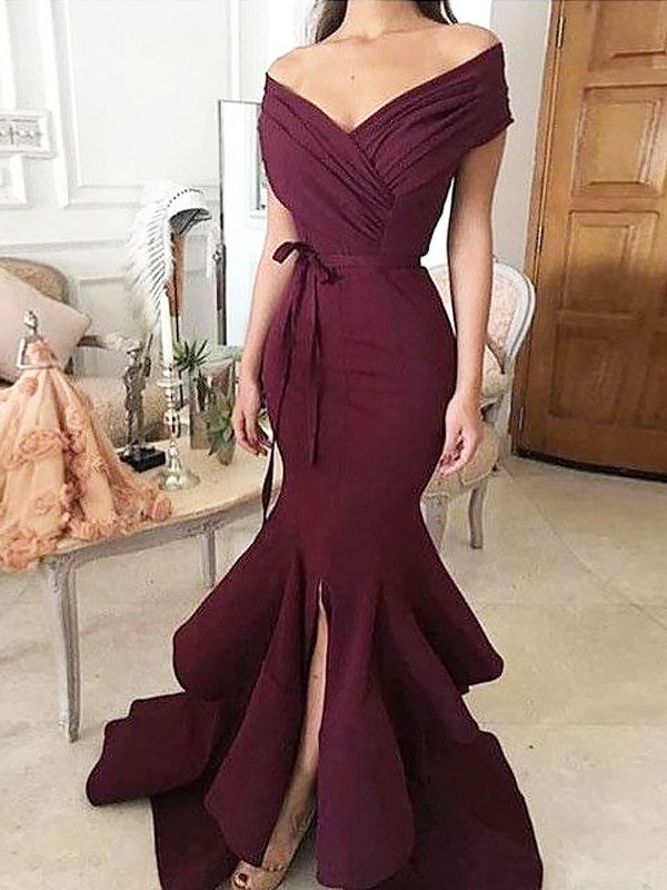 Burgundy Satin Off-the-Shoulder Trumpet/Mermaid Floor-Length Dresses