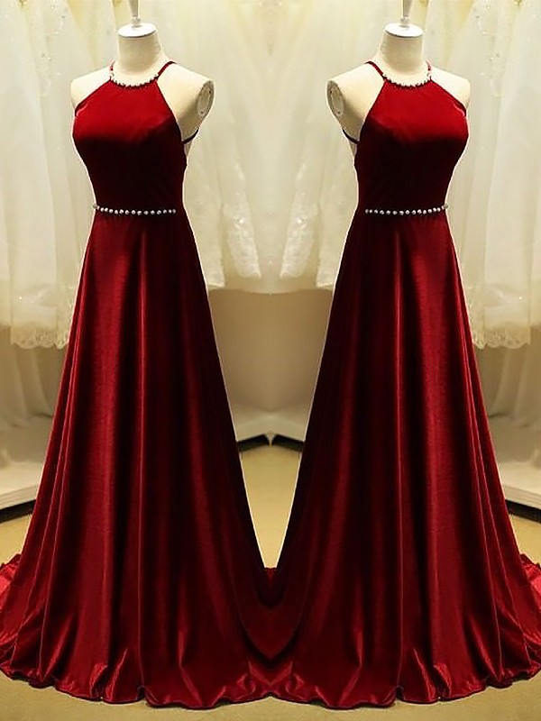 Burgundy Satin Halter A-Line/Princess Sweep/Brush Train Dresses