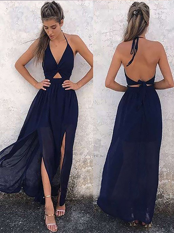 Dark Navy Chiffon V-neck A-Line/Princess Floor-Length Dresses