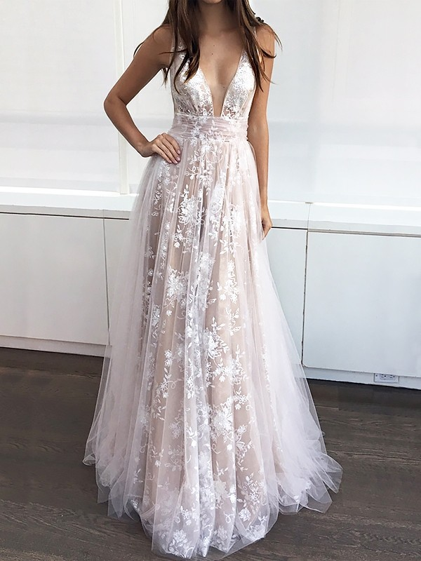Champagne Tulle V-neck A-Line/Princess Floor-Length Dresses
