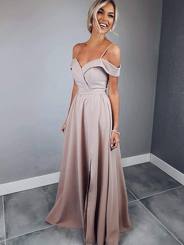 Pearl Pink Satin Spaghetti Straps A-Line/Princess Floor-Length Dresses