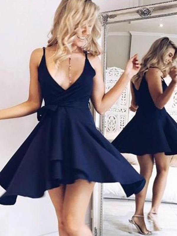 Dark Navy Chiffon V-neck A-line/Princess Short/Mini Dresses