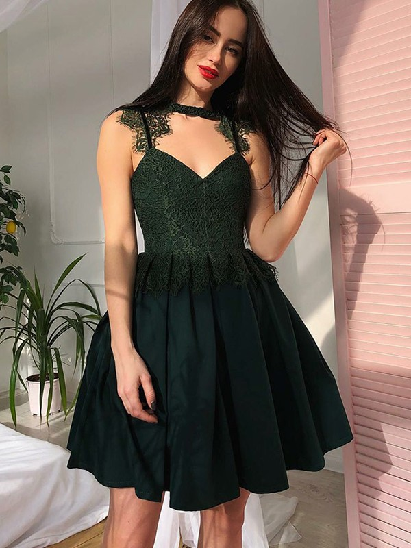 Dark Green Satin V-Neck A-Line/Princess Short/Mini Dresses
