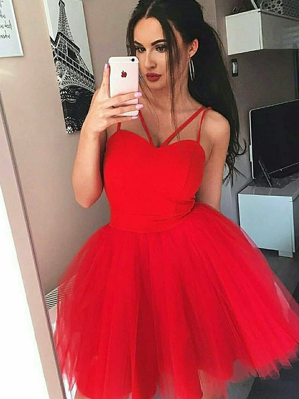 Red Tulle Spaghetti Straps A-Line/Princess Short/Mini Dresses