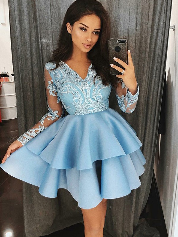 Blue Satin V-Neck A-Line/Princess Short/Mini Dresses