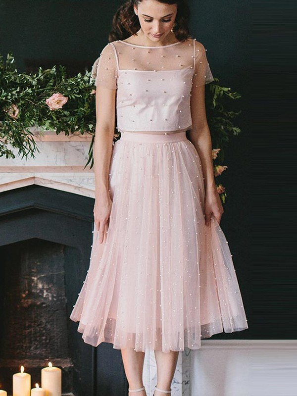 Pink Tulle Scoop A-Line/Princess Tea-Length Dresses