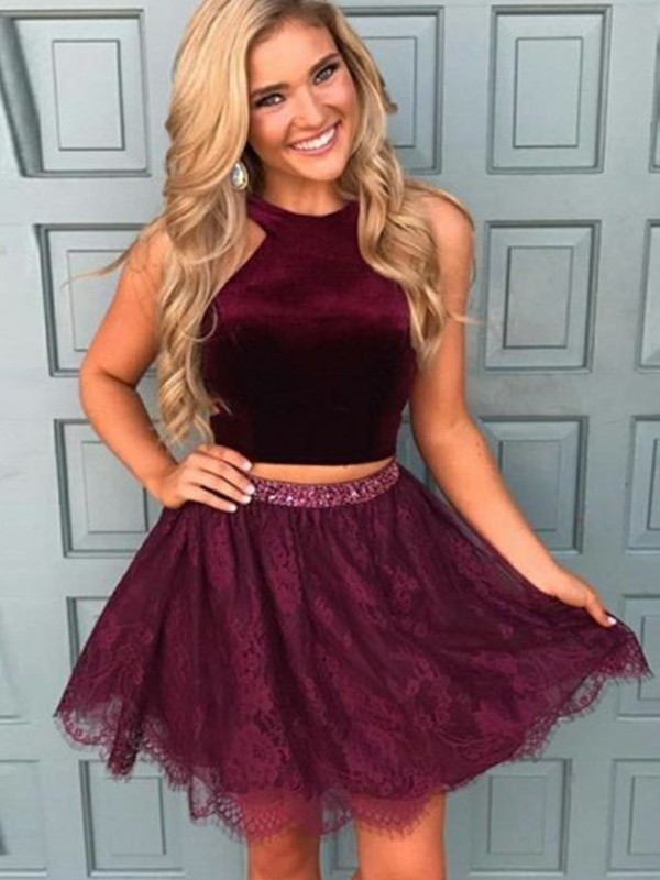 Burgundy Satin Halter A-Line/Princess Short/Mini Dresses