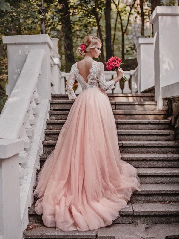 Pink Tulle V-neck Ball Gown Court Train Wedding Dresses