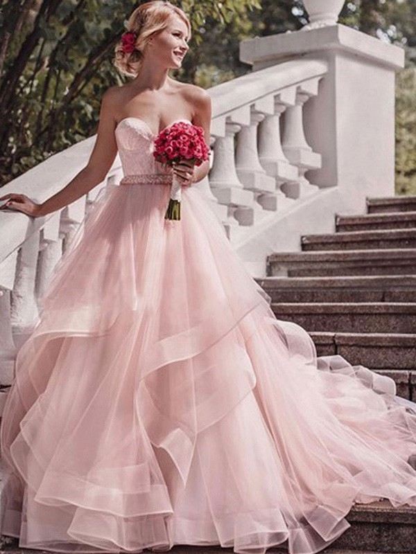 Pink Organza Sweetheart Ball Gown Court Train Wedding Dresses