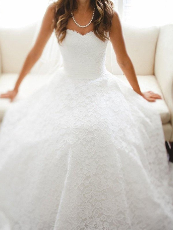 White Lace Sweetheart A-Line/Princess Cathedral Train Wedding Dresses