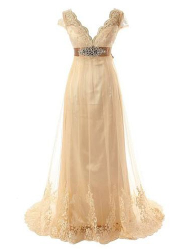 Champagne Tulle V-neck A-Line/Princess Sweep/Brush Train Wedding Dresses