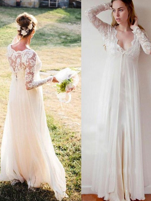 White Chiffon V-neck Empire Floor-Length Wedding Dresses