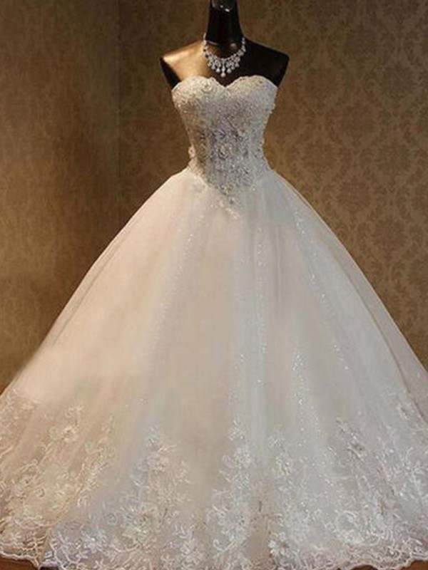 Ivory Tulle Sweetheart Ball Gown Floor-Length Wedding Dresses