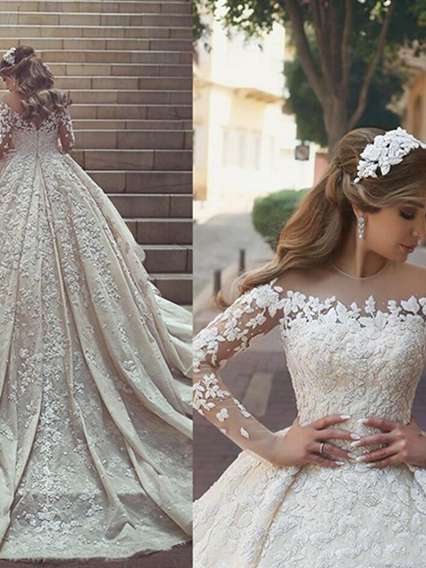Champagne Satin Scoop Ball Gown Chapel Train Wedding Dresses
