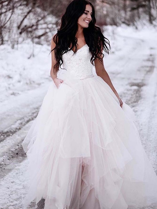 White Tulle V-neck A-Line/Princess Floor-Length Wedding Dresses