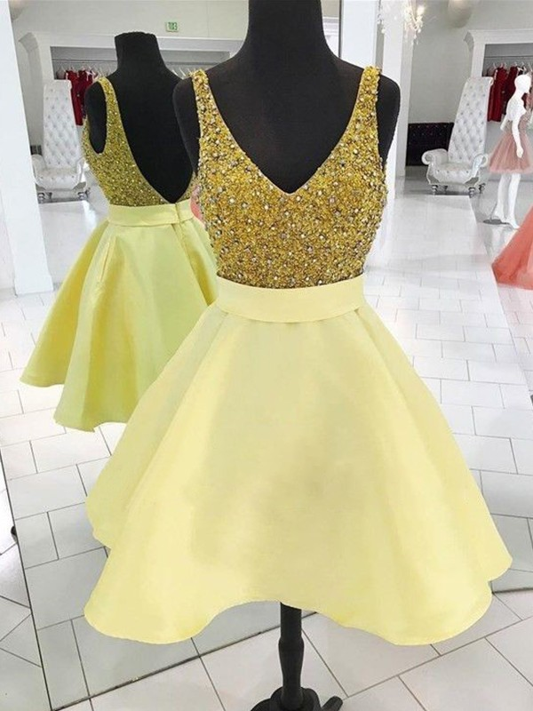 Daffodil Satin V-neck A-Line/Princess Short/Mini Dresses