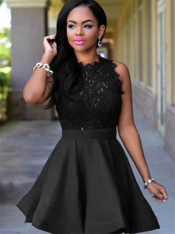Black Satin Jewel A-Line/Princess Short/Mini Dresses