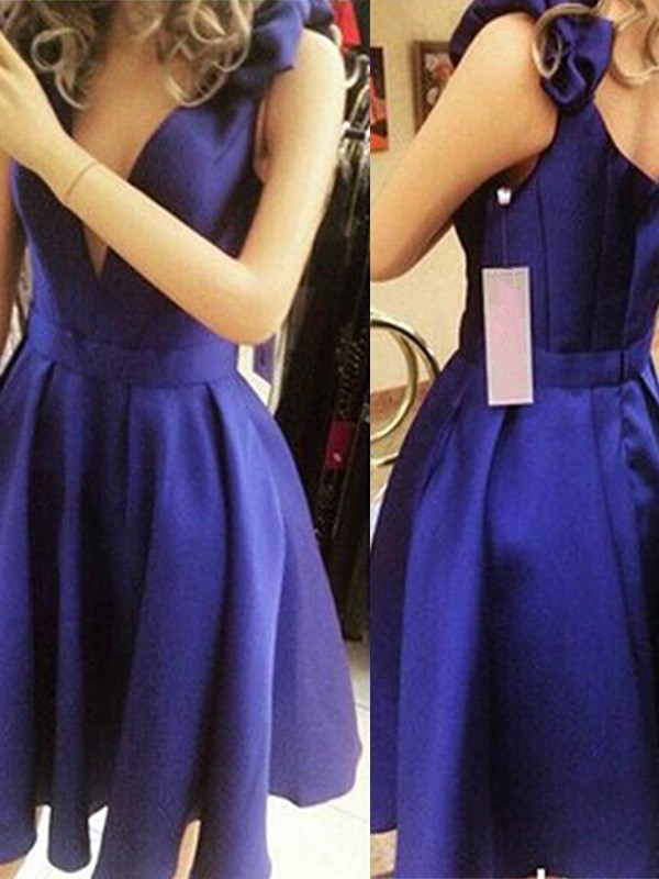 Royal Blue Satin Straps A-Line/Princess Short/Mini Dresses