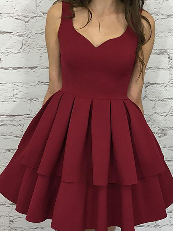 Burgundy Satin Straps A-Line/Princess Short/Mini Dresses