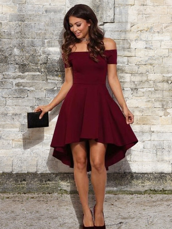 Burgundy Elastic Woven Satin Off-the-Shoulder A-Line/Princess Short/Mini Dresses