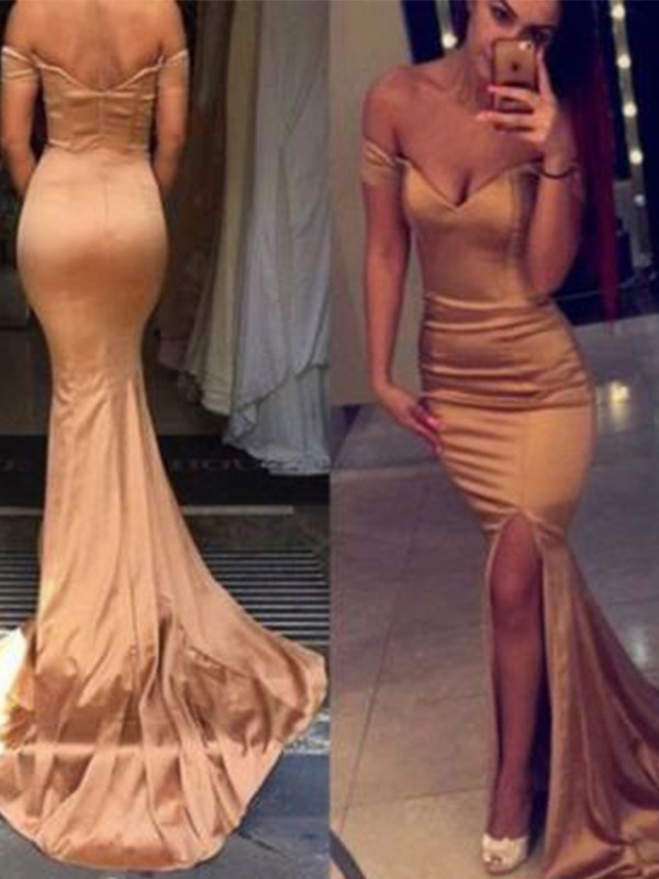 Champagne Silk like Satin Off-the-Shoulder Trumpet/Mermaid Court Train Dresses
