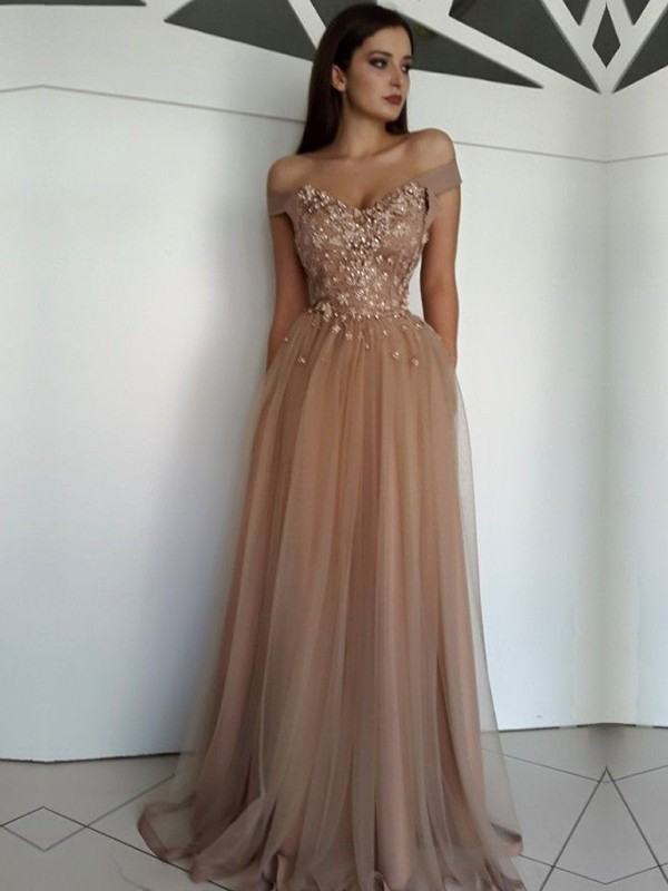 Brown Tulle Off-the-Shoulder A-Line/Princess Floor-Length Dresses