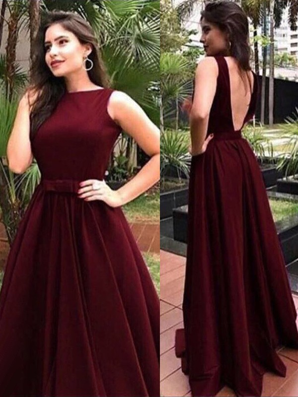 Burgundy Bateau A-Line/Princess Floor-Length Dresses