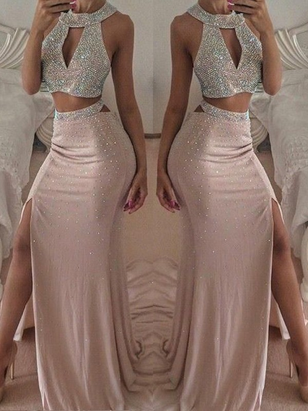Pink Chiffon Halter Trumpet/Mermaid Floor-Length Dresses