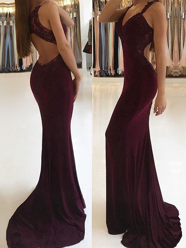 Burgundy Spandex V-neck Trumpet/Mermaid Sweep/Brush Train Dresses