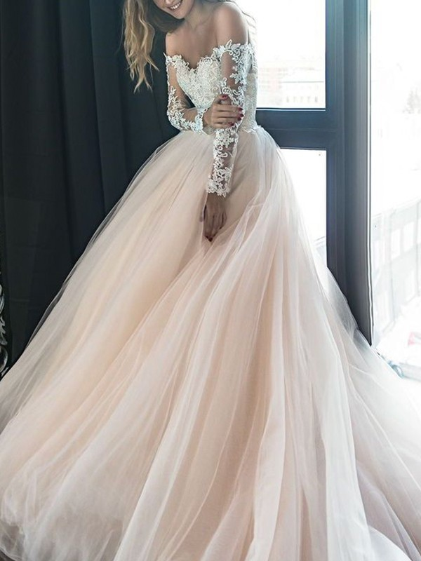 Champagne Tulle Off-the-Shoulder A-Line/Princess Court Train Wedding Dresses