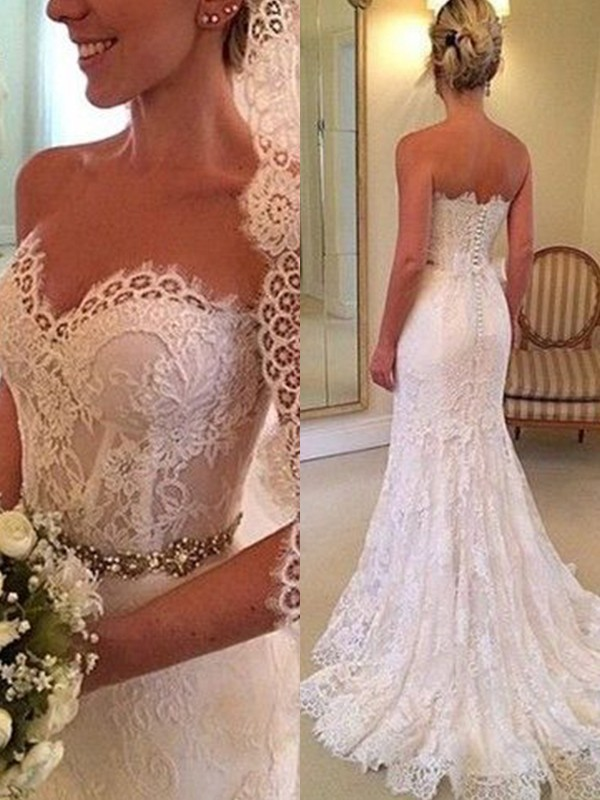 White Lace Sweetheart Sheath/Column Sweep/Brush Train Wedding Dresses