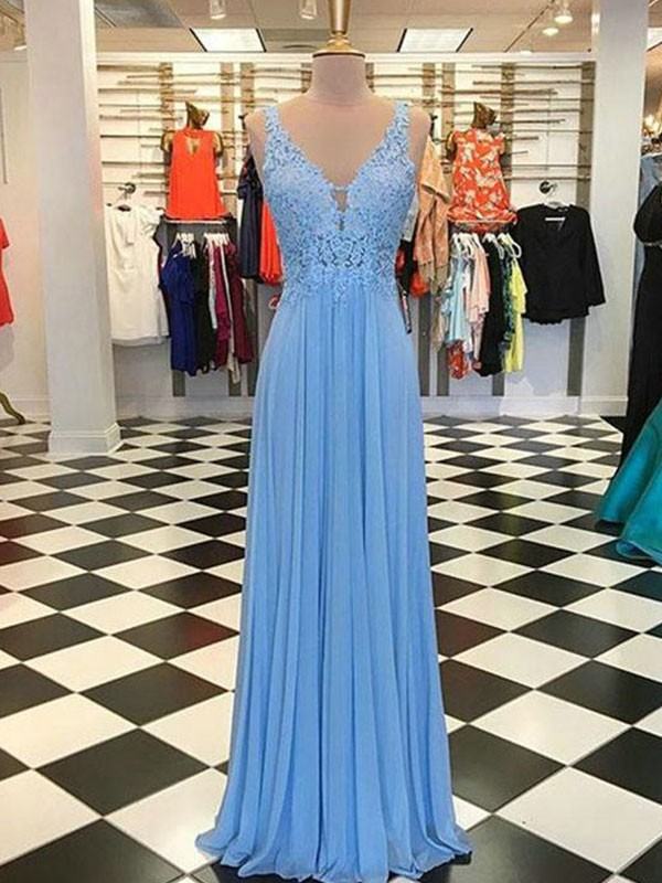 Light Sky Blue Chiffon Spaghetti Straps A-Line/Princess Floor-Length Dresses