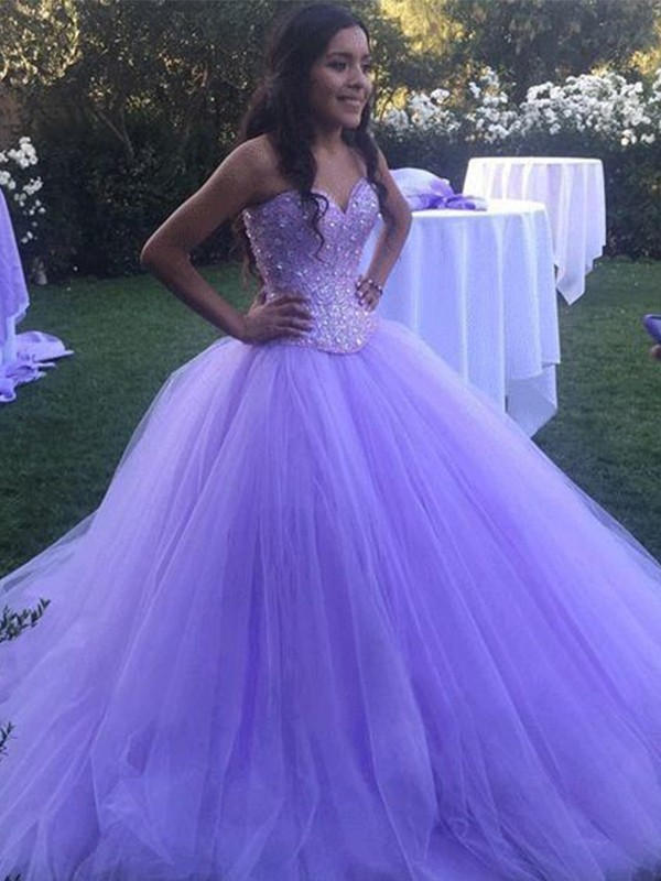 Lilac Tulle Sweetheart Ball Gown Sweep/Brush Train Dresses
